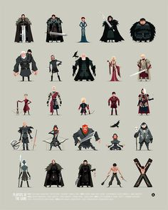 Game of Thrones players of the game — 1st of a series of 2 Game of Thrones inspired art prints.  This is an updated take on a previous style of illustrations I made earlier in 2014. — First of an ongoing series of poster size art prints inspired by characters from Game of Thrones.