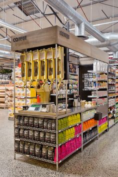Gourmet Supermarket Design - This gourmet supermarket design definitely blurs the line between a farm fresh marketplace and grocery retail. Pharmacy Design, Retail Design, Commercial Design, Commercial Interiors, Coffee Display, Retail Merchandising, Lokal, Retail Shop, Food Retail