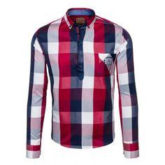 Štýlová pánska kockovaná košeľa červenej farby - fashionday.eu Plaid, Shirts, Tops, Women, Fashion, Gingham, Moda, Fashion Styles, Dress Shirts