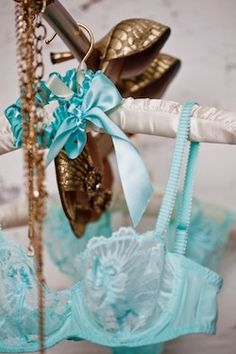 Aqua lingerie and gold shoes, The Garter Girl