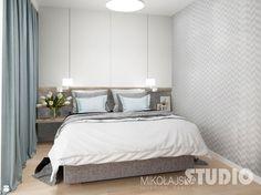 sypialnia-jasna-szara-tapeta-w-sypialni-drewno-błękit-pastele-pastalowa - zdjęcie od MIKOŁAJSKAstudio - Sypialnia - Styl Skandynawski - MIKOŁAJSKAstudio