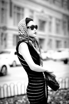 vintage Azzedine Alaia dress, Christian Louboutin Lady Daf, Hermes scarf, Chanel bag