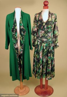 Printed Day Dress & Coat Set, Early 1930s, Augusta Auctions, October 2007 Vintage Clothing & Textile Auction, Lot 720