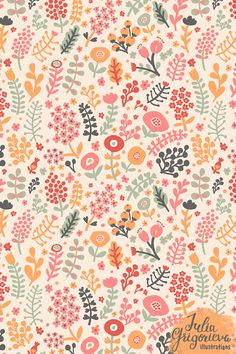 Floral seamless patterns by Julia Grigorieva, via Behance