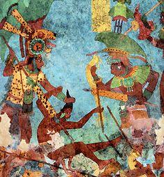 Bonampak: Mayan mural of a surrounded captive.