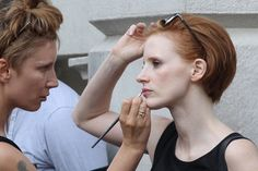 jessica chastain short hair | Short haired Jessica Chastain spends a full day filming scenes for her ...