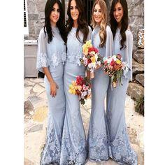 2017 Winter Wedding Party Blue Modest Elegant Bridesmaid Dress. BD0215