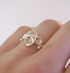 Flowering Twig Ring - 22k Gold - Sterling Silver. $78.00, via Etsy.
