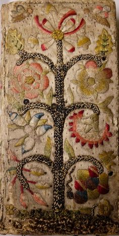 Embroidered Bookbinding ~ The Whole Book of Psalms ~ 1636 ~ University of Glasgow Library, Special Collections Jacobean Embroidery, Hand Embroidery, Passementerie, Wool Applique, Book Binding, Glasgow Library, Rug Hooking, Fabric Art, Textile Art
