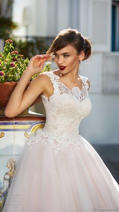 victoria soprano 2017 bridal sleeveless thick strap round neck heavily embellished bodice romantic princess pink ball gown a line wedding dress corset back chapel train (4) zv -- Victoria Soprano 2017 Wedding Dresses