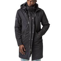 Mens-Jacket-Parka-Black-Front-View