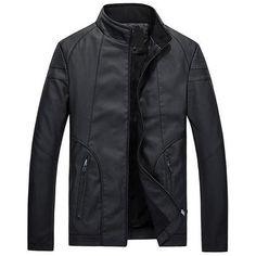 Men Leather Jacket Motorcycle Jacket High Quality Men's Clothing-Jacket-LeStyleParfait.Com