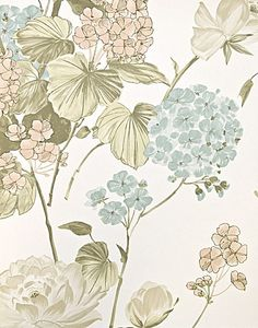 Penrose Floral Wallpaper Bold floral print wallpaper in White, with pale pink, powder blue.