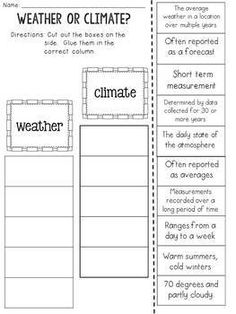 Weather and Climate: Cut and Paste Sorting Activity by JH Lesson Design Teaching Weather, Weather Science, Weather Experiments, Weather Vs Climate, Climate Change, Science Worksheets, Science Lessons, Weather Worksheets, Science Classroom