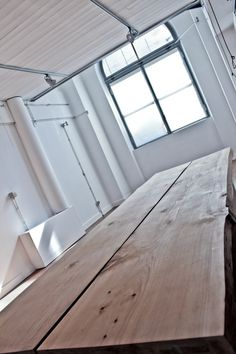 Loft Table Solid cedar wood hand shaved on lacquered basis http://www.matitaly.com/en/maxitavolo-in-cedro/ pic © Stefania Bonatelli