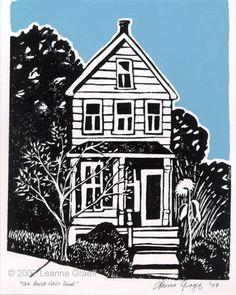 The House Next Door - Hand Pulled Linocut