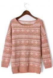 Cross Zig Zag Pattern Peach Sweater #Chicwish