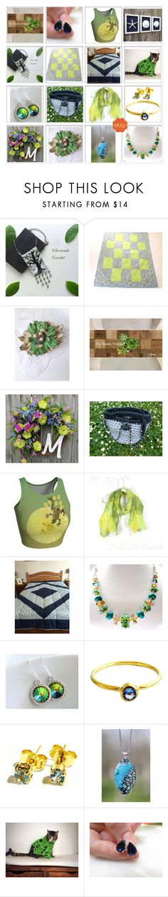 """Green & Blue Gifts on ETSY"" by belladonnasjoy ❤ liked on Polyvore featuring vintage"