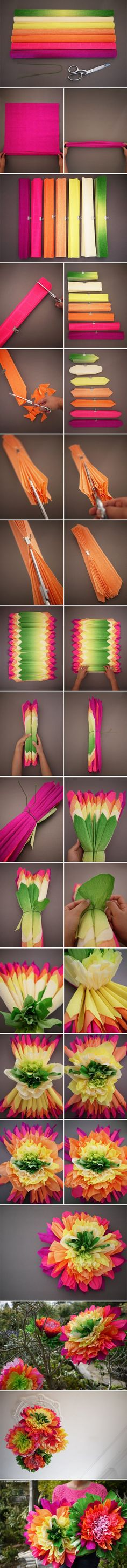 Super bright giant paper flowers to make. Best Picture For small Paper Flowers For Your Taste You are looking for something, and it is going to tell you exactly what you are looking for, and you Tissue Paper Flowers, Giant Paper Flowers, Diy Flowers, Bright Flowers, Flowers Decoration, Mexican Paper Flowers, Diy Paper, Paper Crafts, Paper Pom Poms