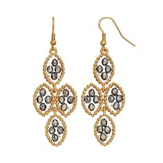 GS by gemma simone Black Swan Collection Bead Marquise Kite Earrings, Women's