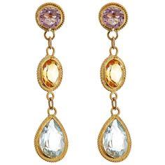 14K Yellow Gold Semi-precious Stone Dangle Earrings