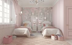 Likes, 69 Comments - Interior Design Twin Girl Bedrooms, Girls Bedroom, Bedroom Decor, Deco Jungle, Kids Bedroom Designs, Gris Rose, Living Room With Fireplace, Luxurious Bedrooms, Home Decor Furniture