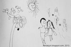 Happy wedding - drawing by a four-year-old child; Onnelliset häät - 4-vuotiaan lapsen piirtämä