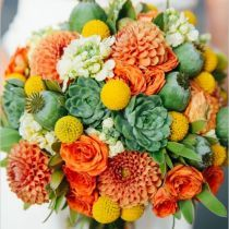 gray succulent yellows billy balls and white roses wedding bouquet | Deer Pearl Flowers