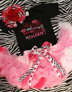 Cindi Starr, I think both of your girls need this. Kiss Me, Answer to Daddy Onesie Pettiskirt Hair Bow Outfit Set Cute Little Baby, Little Babies, Cute Babies, Baby Girl Boutique, Baby Time, Stylish Kids, Cute Baby Clothes, My Baby Girl, Kids Outfits