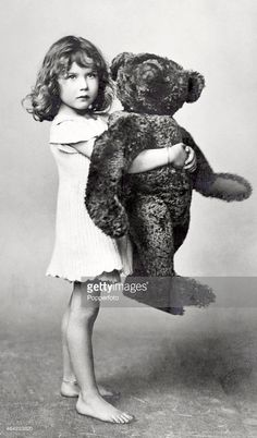 A vintage postcard featuring a little girl holding a large teddy bear circa 1937 Large Teddy Bear, Old Teddy Bears, Antique Teddy Bears, My Teddy Bear, Teddy Photos, Bear Photos, Old Photos, Vintage Photographs, Vintage Photos