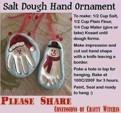 Handprints in clay christmas themed ornaments do it yourself hand ansalt dough ornaments d foot print ornaments solutioingenieria Gallery