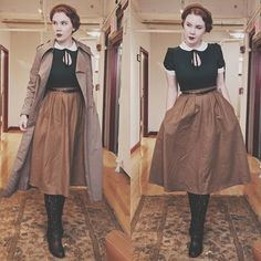 Don& know how I feel about this outfit, but the middle clasp broke on this dress so I needed to work wi… Vintage Inspired Fashion, 1940s Fashion, Vintage Fashion, Vintage Hipster, Mode Vintage, Pin Up, Vintage Dresses, Vintage Outfits, Moda Casual