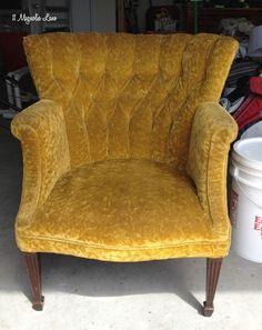 Gold velvet thrift store chair