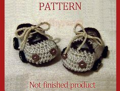 PDF Pattern No. 35 - Crocheted Baby Boy Car Booties