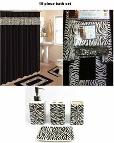 19 Piece Bath Accessory Set Black Zebra Animal Print Bath Rug Set + Black Zebra Shower Curtain & Accessories by AHF/WPM@Stephanie Ross