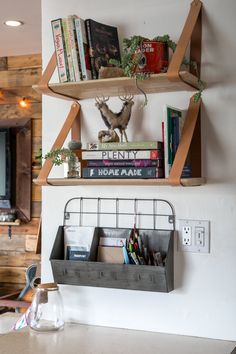 You could DIY shelves like this with leather belts (Rustic & Cozy Cabin Vibes in Los Angeles)