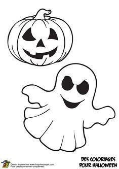 Coloriage et découpage d'Halloween, une citrouille et un fantôme.