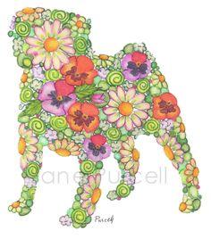 #Children's #Art Print 8 x 10 Garden #Pug #Silhouette #Nursery Art Child's Room #Girls Room Children #Floral Art. $14.95, via Etsy.