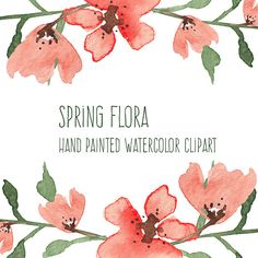 Spring Flora  Watercolor Flowers  Hand by DotandDashCreative