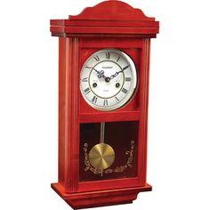 NIB ~ Kassel™ 15 Day Red Wood & Glass Pendulum Wall Clock w/ Chime #Kassel #grandfatherclock #freeshipping