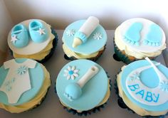Having a baby shower? throwing a baby shower? hope its a b Baby Boy Cupcakes, Baby Cupcake, Cupcakes For Boys, Fondant Baby, Baby Cookies, Baby Shower Cupcakes, Cupcake Cakes, Christening Cupcakes Boy, Torta Baby Shower