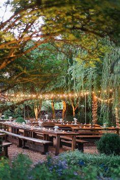 glowing outdoor wedding reception