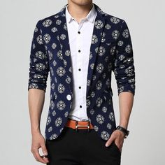dacd89f4ffb M-5XL 6XL white brown royal blue printed blazers men brand-clothing mens  floral