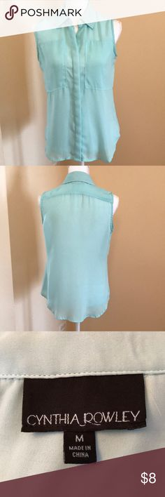 Women's Cynthia Rowley sleeveless blouse Beautiful sleeveless light blue/green blouse Cynthia Rowley Tops Blouses