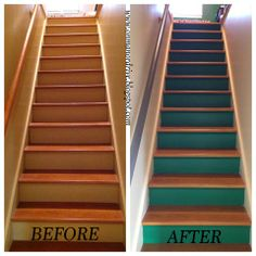 On Manor Drive: Painted Stairs and Handrail