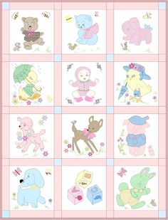 Vintage Baby Quilt Pattern with 13 applique and embroidery blocks Cute Embroidery, Machine Embroidery Patterns, Tatting Patterns, Baby Girl Quilts, Girls Quilts, Nautical Quilt, Baby Quilt Patterns, Quilting Patterns, Hand Quilting