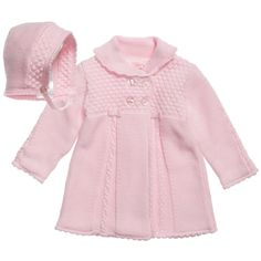 Mayoral Pink Knitted Cotton Coat and Bonnet at Childrensalon.com