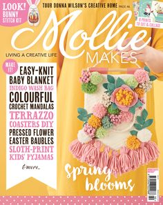 Download the templates for issue 90's embroidered bunny, glass baubles, earring board, floral banner and crochet cushion.
