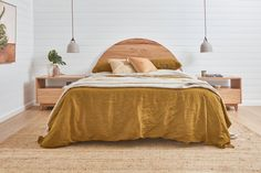 The Bronte Bed features a timeless curve showcasing the natural features of our beautiful timbers. Available as a bedhead only or a complete bedhead and frame in both Queen and King sizes. King Beds, Queen Beds, Bed Head, Light Oak, King Size, Interior Inspiration, Room, Furniture, Natural