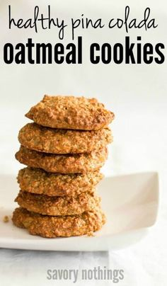 This recipe for healthy pina colada oatmeal cookies makes the perfect snack! Shhh... They're even healthy enough to enjoy for a breakfast treat!